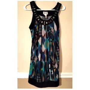 Cute Geometric Design Sleeveless Shift Dress Sz M